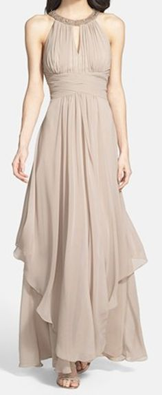 tiered chiffon halter gown in champagne  http://rstyle.me/n/e464apdpe