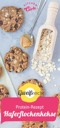 Protein-rich recipes: protein cookies with oatmeal - Rezepte - Appetizers for party Protein Cookies, Oatmeal Cookies, Cookies Et Biscuits, Oatmeal Biscuits, Protein Rich Foods, High Protein Snacks, Healthy Protein, Shortbread Cookies, Party Desserts