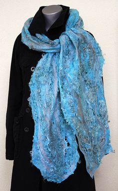 Felted eco-friendly light warm silk scarf woman lacy by GBDesign