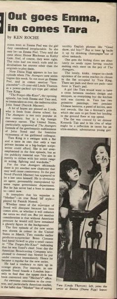 The arrival of Tara King is announced. From TV Times, September 1968