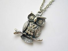 SALE! owl on a branch pendant necklace by VintageHomage on Etsy, $6.00
