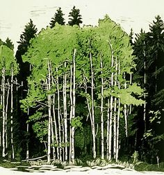 Summer Aspen by Sherrie York. Reduction linocut, 3 colors