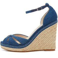 L.K. Bennett Litya Jean Wedge Sandals ($325) ❤ liked on Polyvore featuring shoes, sandals, braided sandals, platform wedge sandals, wedge heel sandals, woven sandals and wedges shoes