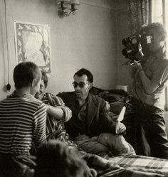 Jean-Luc Godard directs Jean-Paul Belmondo and Jean Seberg in À bout de souffle as Raoul Coutard mans the camera,1960.