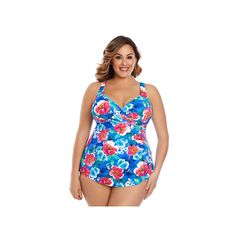 Plus Size Upstream Tummy Slimmer Crossover Sarong One-Piece Swimsuit, Women's, Size: 16 W, Ovrfl Oth