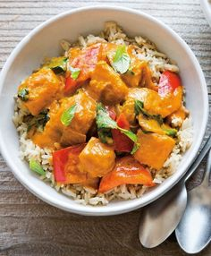 Thai Pumpkin Curry   This flavorful and filling curry comes together quickly and can even be made a few days ahead of time and stored in the refrigerator.