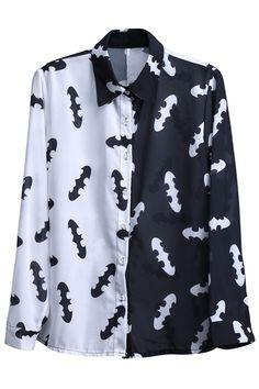 "Contrast White-black ""Bats"" Shirt #Romwe"