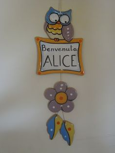 ceramica come mestiere: Un decoro da appendere come benvenuto per la nasci...