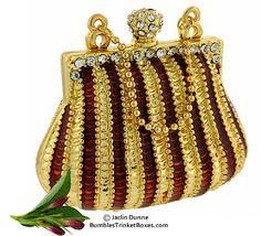 Trinket Box: Striped Handbag Jewellery Boxes, Jewelry Box, Glam And Glitter, Music Jewelry, Unique Purses, Vintage Clutch, Antique Boxes, Pretty Box, Beaded Purses
