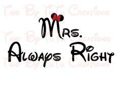 Mrs. Always Right Minnie Mouse Printable Image for Iron On Transfer DIY Disney Wedding Honeymoon Bride Mr