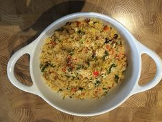 Bulgur rice sautéed in onion,sweet pepper,dried apricot,dried figs,leeks and parsley.