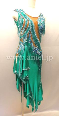 green teal blue silver crystal bodice design diagonal tattered latin dress