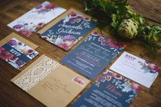 navy and floral wedding invitation suite