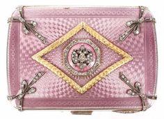 A Fabergé Silver Guilloche Enamel and Diamond Cigarette Case. Enamel in light Lavender & Pink