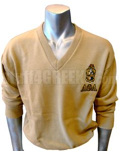 ALPHA PHI ALPHA V-NECK SWEATER WITH GREEK LETTERS UNDER CREST, TAN  Item Id: PRE-VSR-AFA-LTR_CREST_TAN    Retail Price: $119.00  You Save: $20.00  Price: $119.00  Your Price: $99.00
