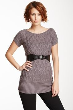 Belted Short Sleeve Sweater Tunic