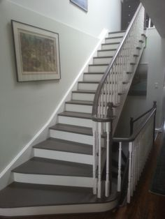 Beautiful painted staircase, with cork treads.