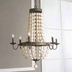 White Wood Beads and Iron Basket Chandelier white