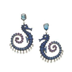 Lydia Courteille Seahorse earrings in 18-carat black gold with diamonds…