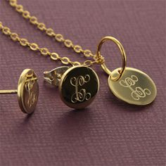 Petite gold charm necklace and gold earrings  #monogram #gold #earrings #charm #necklace