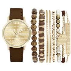 Jessica Carlyle Brown Womens Brown Boho Watch  Bangle Set ($25) ❤ liked on Polyvore featuring jewelry, watches, bracelets, accessories, bangles, brown, boho jewellery, brown jewelry, bangle set and boho jewelry - antique jewellery, enamel jewelry, citrine jewelry *ad