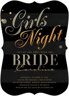 Night on the Town - Signature White Bachelorette Party Invitations - Elk Design - Begonia - Pink : Front