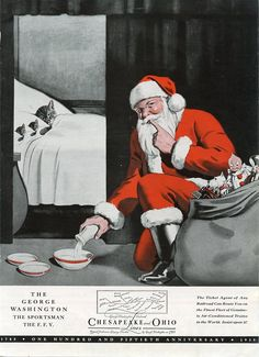 Chessie the Cat Railroad vintage Christmas advertisement (United States, .Santa leaving milk for sleeping Mama Cat and her Kittens, adorable. Father Christmas, Retro Christmas, Vintage Christmas Cards, Christmas Images, Vintage Holiday, Christmas Holidays, Christmas Animals, Winter Holiday, Christmas Greetings