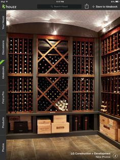 Traditional Wine Cellar Design Ideas, Pictures, Remodel and Decor Wine Shelves, Wine Storage, Storage Ideas, Glass Shelves, Box Storage, Cave A Vin Design, Wine Cellar Basement, Wine Cellar Racks, Home Wine Cellars