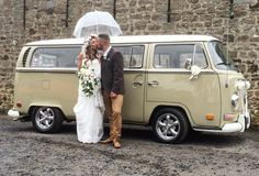 Rain is just confetti from the sky..... Congratulations to Sophie and Paul on their wedding at High House Farm Brewery. VW Deluxe Weddings, VW Campervan wedding hire throughout the North East of England.