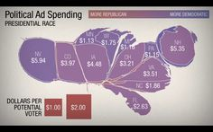 —by Adam Cole / NPR #USA #elections #repartition #vote #investors #money #imprtance #map #distortion #2008 #obama #mccain