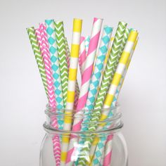 Have a Happy Heart Neon Party Straws