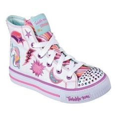 official photos 6fc41 8f8be Girls  Skechers Twinkle Toes Shuffles Twist N Turns High Top  Multi Stripes  Texture,