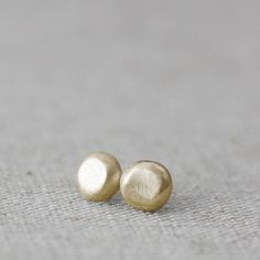gold organic flat pebble earrings