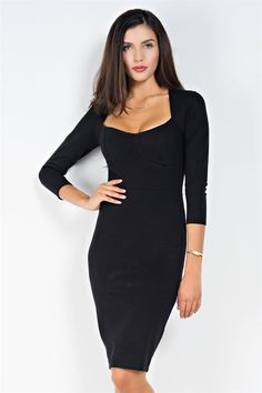 c76387be06 Kyani Black Bra Shaped Front Body Con Dress Black Bra