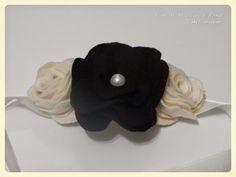 Flor de madeira: Headband com flores em feltro e pérola