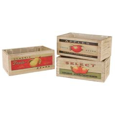 These unique planter boxes are crafted of white washed wood with retro fruit artwork designs including apples, peaches, and pears. Lend a rustic touch to your home garden with these dandy garden boxes