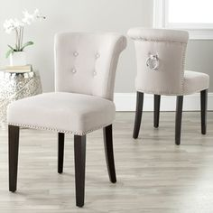 Safavieh Carrie Wheat Linen Side Chairs (Set of 2) - Overstock™ Shopping - Great Deals on Safavieh Dining Chairs