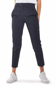 Main Image - Topshop Cut About Pinstripe Cigarette Trousers Trouser Outfits, Casual Outfits, Fashion Outfits, Paper Bag Waist Pants, Pinstripe Pants, Nordstrom, Pants For Women, Formal Pants Women, Topshop