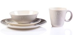 Set 12 piese farfurii din Ceramica bej cu inimioara
