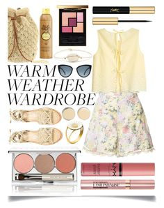 """""""Warm Weather Wardrobe"""" by ittie-kittie ❤ liked on Polyvore featuring Chantecaille, Zimmermann, Billabong, Paloma Barceló, Topshop, Givenchy, Sun Bum, Pascale Monvoisin, Yves Saint Laurent and NYX"""