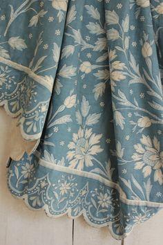 Vintage French blue floral + trim fabric panel 1950-1960 cotton