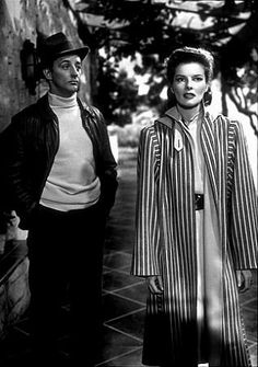 1509-1 Katharine Hepburn and Robert Mitchum in film noir Undercurrent  She was a great actress and beauty!