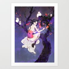 A+Flight+in+the+Night+Art+Print+by+Yoalys+-+$16.00
