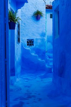 """Chefchaouen, Morocco  Tucked high in Morocco's Rif Mountains, theall-blue townof Chefchaouen is a calming respite from the overwhelming frenzy of Marrakech and Fez. The Jewish refugees from Europe who lived there during the 1930s first painted the city (either to symbolize heaven or as a mosquito repellent, depending on who you ask), and now the town is known as """"The Blue Pearl."""" The town still keeps the tradition alive: Each year, the houses are washed with new coats of paint."""