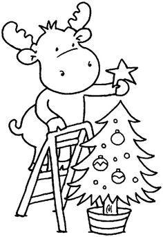 kerstmis Kleurplaat: rendier met kerstboom