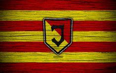 Download wallpapers Jagiellonia, 4k, Ekstraklasa, wooden texture, football, Poland, Jagiellonia FC, soccer, football club, FC Jagiellonia