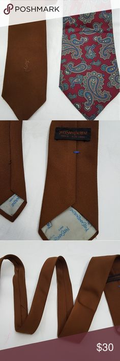 """Lot of 2 Ties Yves Saint Laurent & Christian Dior 100% silk Christian Dior Made in U.S.A. fabric woven in Italy 56"""" long.  Yves Saint Laurent Paris New York Brown Tie 56.5"""" long  Both in perfect shape and color.   Clean inside out.   Non smoking environment Yves Saint Laurent Accessories Ties"""