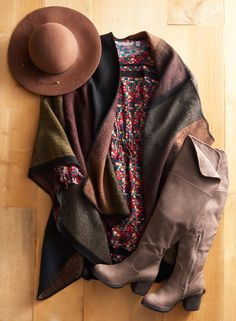 Get gorgeous for fall. That means playing with lots of layers, luxe fabrics and lovely fall hues. Featured product includes: Apt. 9 colorblock ruana and wool floppy hat, Journee boots and LC Lauren Conrad dress. Pretty up your fall style at Kohl's.