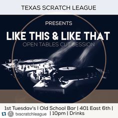 #Repost @txscratchleague with @repostapp.  Don't forget! First Tuesday's we cut! January 5th in downtown Austin TX our monthly session returns! @oldschoolbaratx  First Tuesday's | Open tables | 10pm #txscratchleague #turntablism #turntablist #practiceyocuts by djbuckrodgers http://ift.tt/1HNGVsC