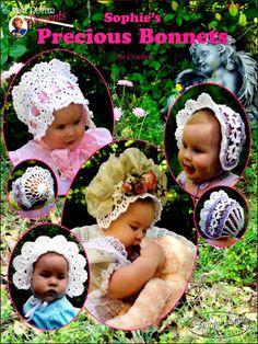 Sophie's Precious Bonnets Crochet Pattern Book by CraftyCrocheting, $4.00